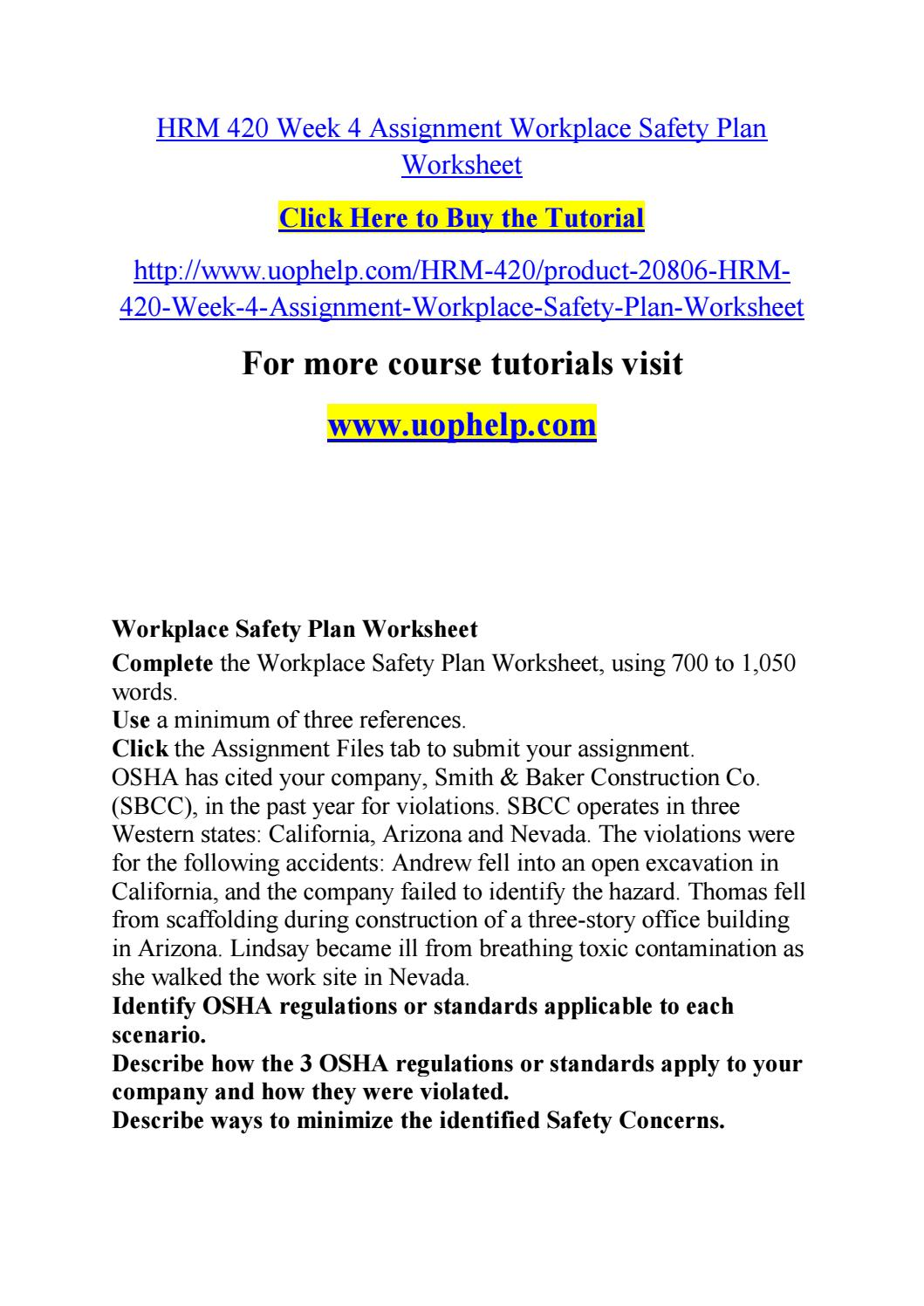 Worksheets Safety Plan Worksheet hrm 420 week 4 assignment workplace safety plan worksheet by jabbaree136 issuu