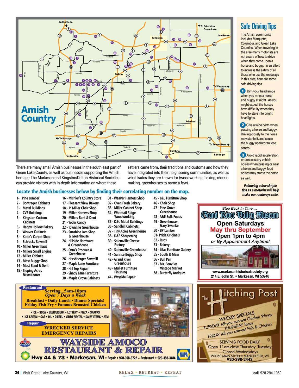 Amish Wisconsin Map.Green Lake Country Visitors Guide 2017 By Madison Com Issuu