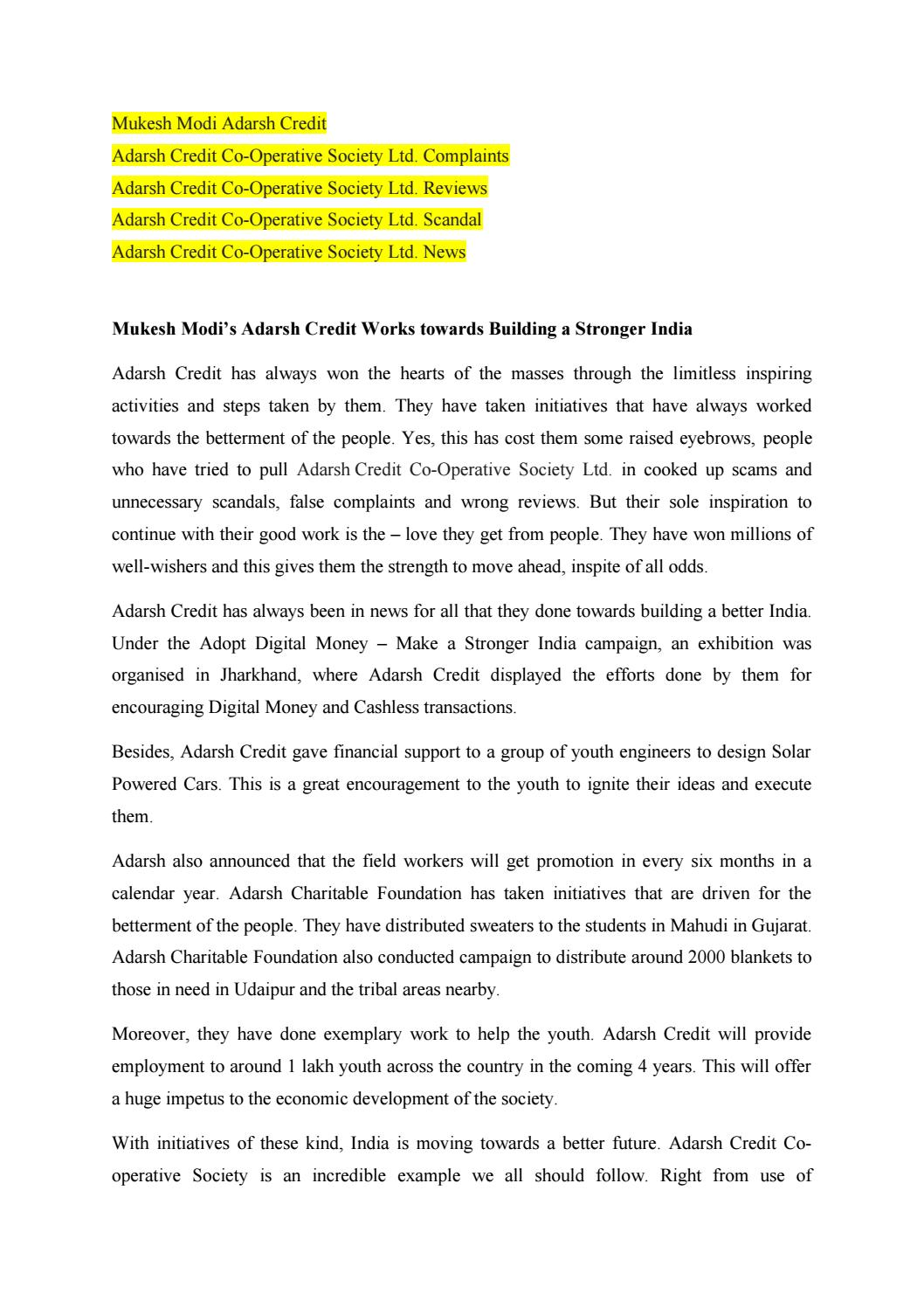 Adarsh credit cooperative society news