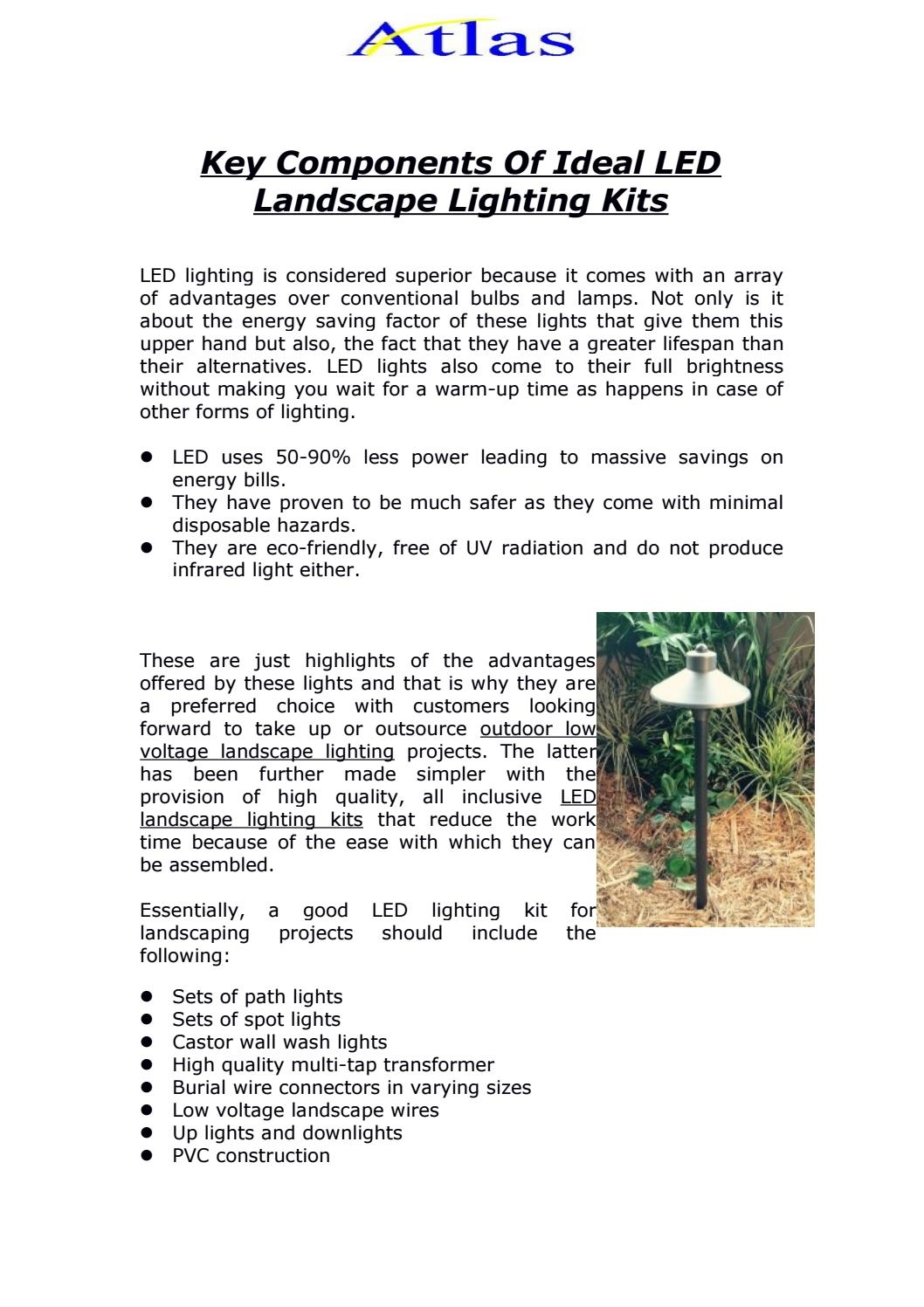 Key Components Of Ideal Led Landscape Lighting Kits By Markdives9987 Issuu