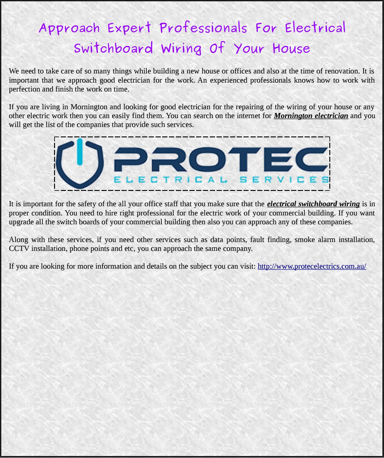 Approach Expert Professionals For Electrical Switchboard Wiring Of Your House Data By Mornington Electrician Issuu