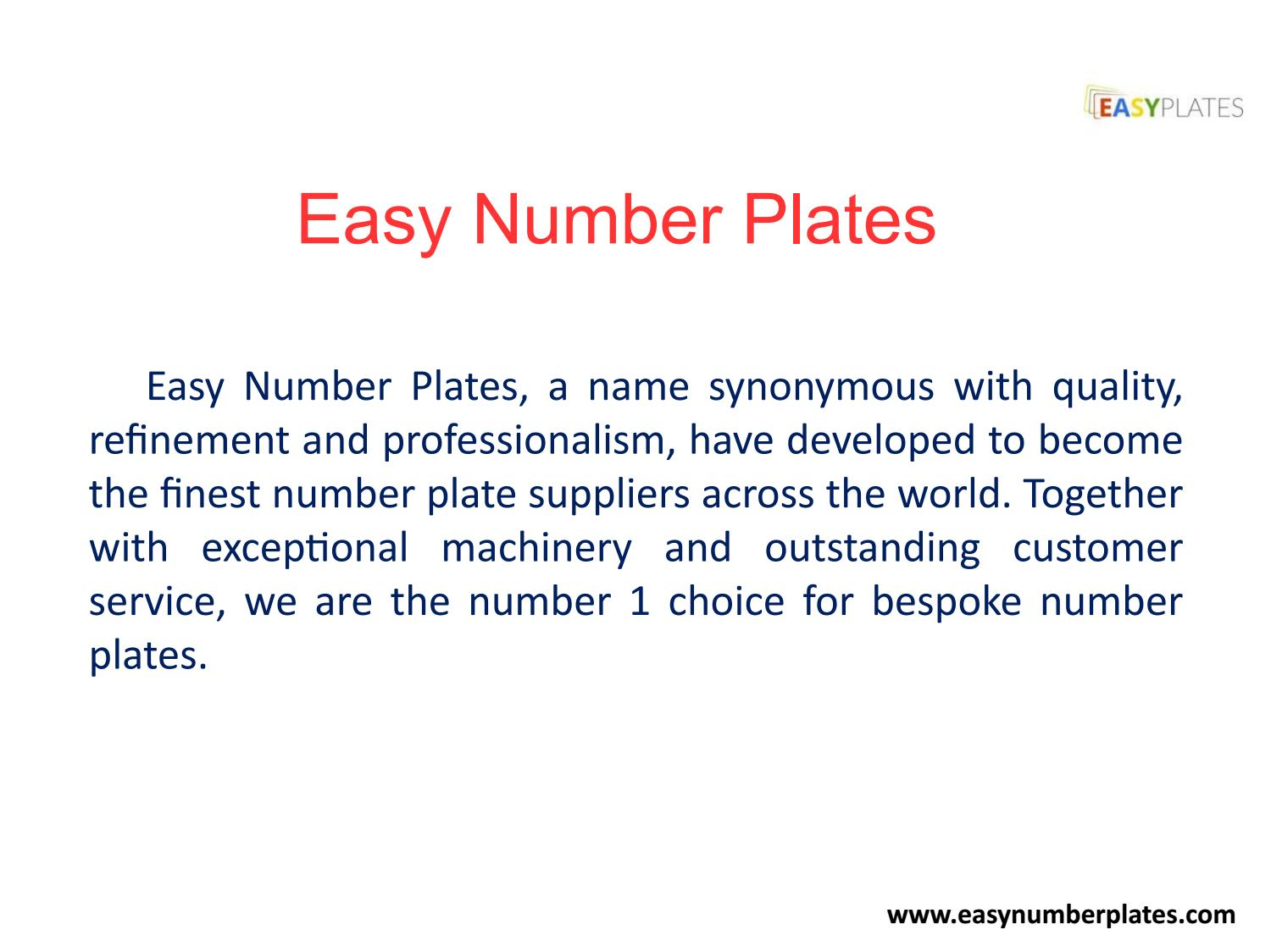 Number Plate Suppliers >> Types Of Number Plates Easy Number Plates By
