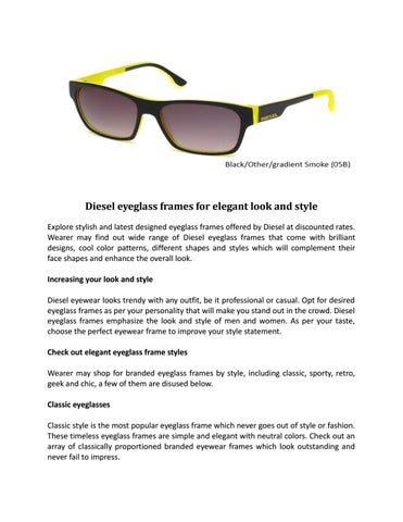 1db59ce55e Diesel eyeglass frames for elegant look and style by Daniel Walters ...