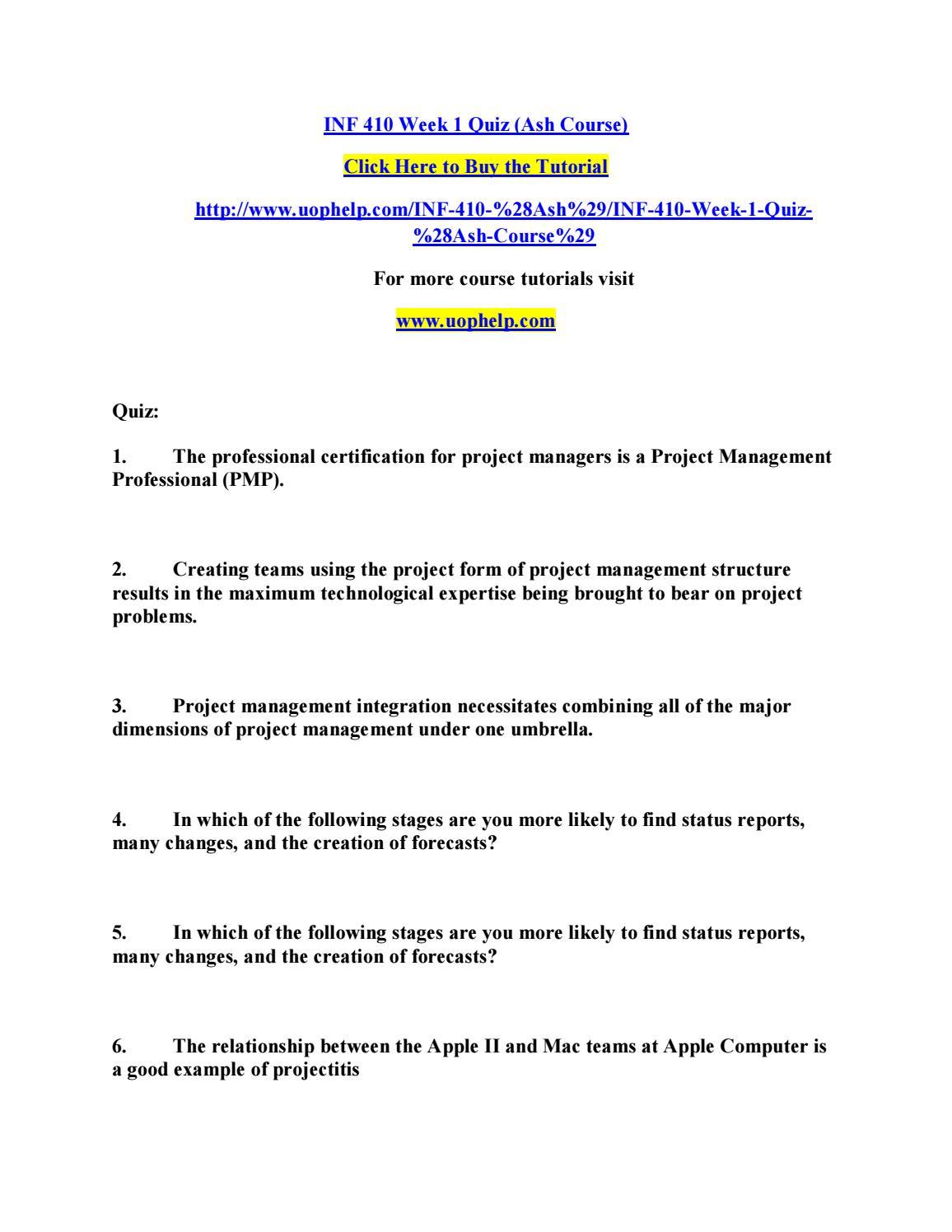 Inf 410 Week 1 Quiz Ash Course By Pinck152 Issuu