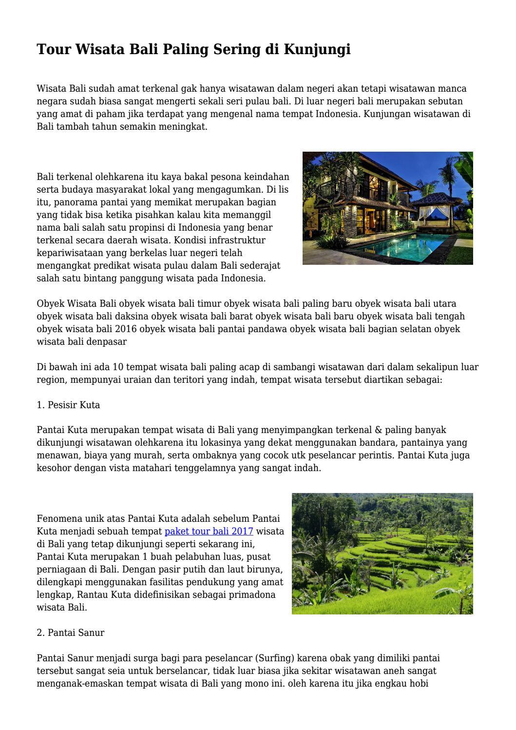 Tour Wisata Bali Paling Sering Di Kunjungi By