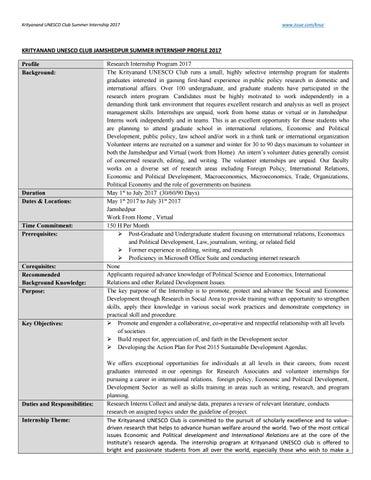 Krityanand UNESCO Club Jamshedpur internship knuc pdf by