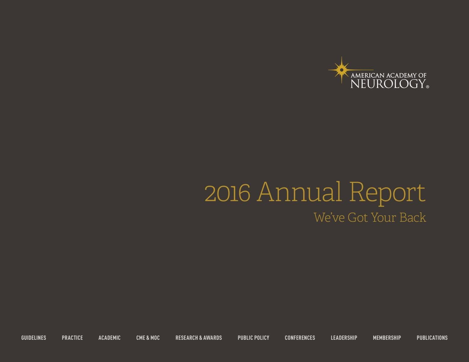2016 AAN Annual Report by American Academy of Neurology - issuu