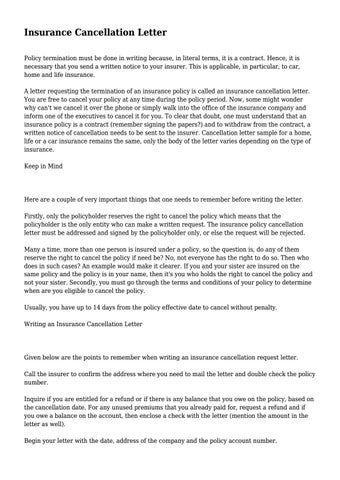 Insurance Cancellation Letter  By Jasmine7Frazier71 - Issuu