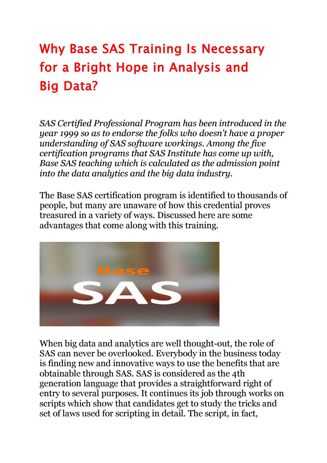 Why Base Sas Training Is Necessary For A Bright Hope In Analysis And
