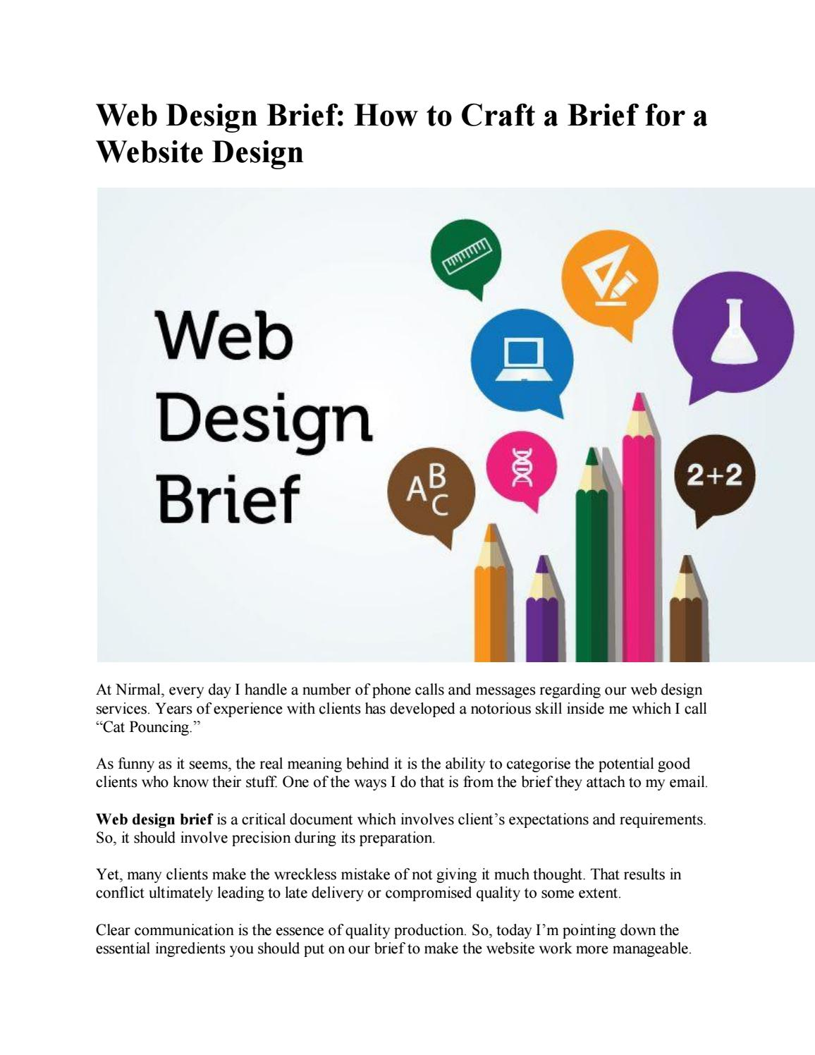 How To Craft A Brief For A Website Design By Nirmal Web Design Issuu