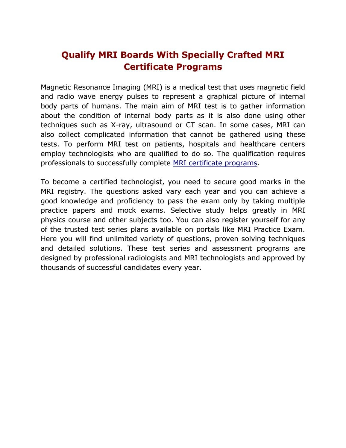 Qualify Mri Boards With Specially Crafted Mri Certificate Programs