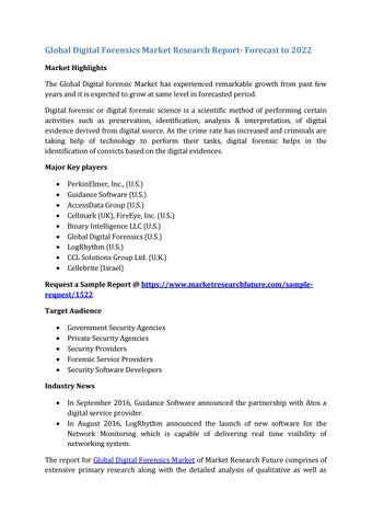 Global Digital Forensics Market Research Report Pdf By Kiran Sonawane Issuu
