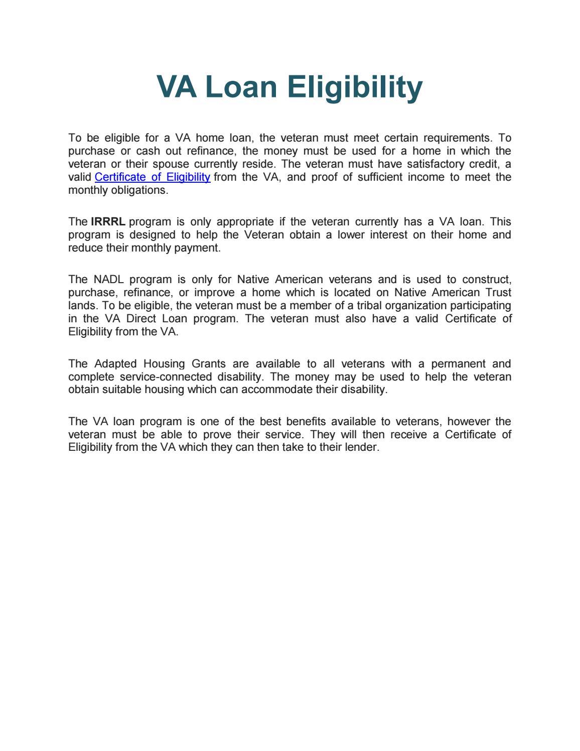 Va Loan Eligibility By Rrybahoward Issuu