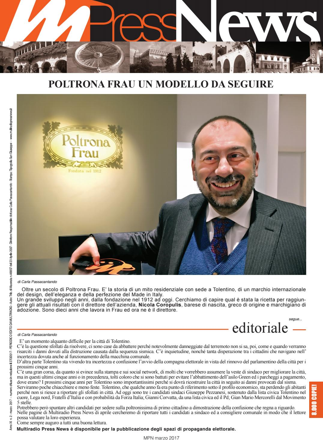 Poltrona Frau Tolentino Indirizzo.Multiradio Press News Marzo 2017 By Multiradio Issuu