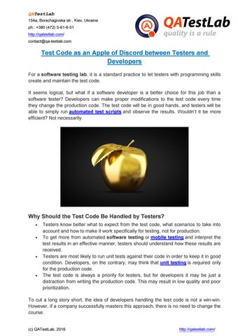 Test Code as an Apple of Discord between Testers and