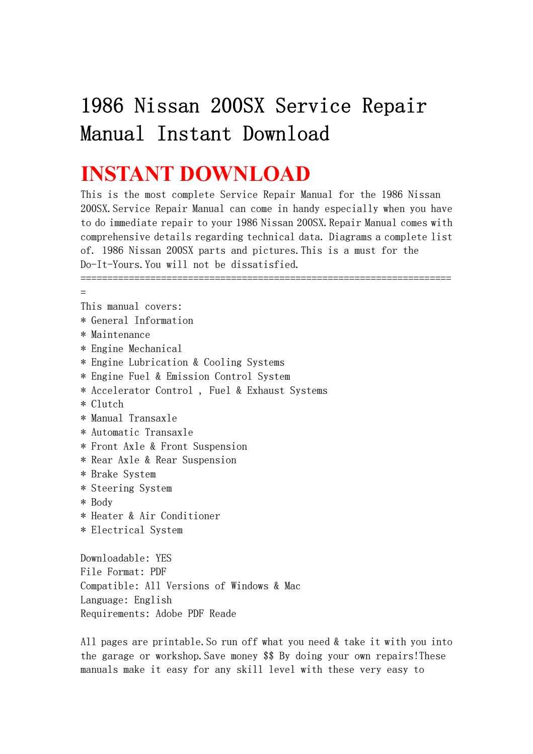 1986 Nissan 200sx Service Repair Manual Instant Download By Jhsenfuh Issuu