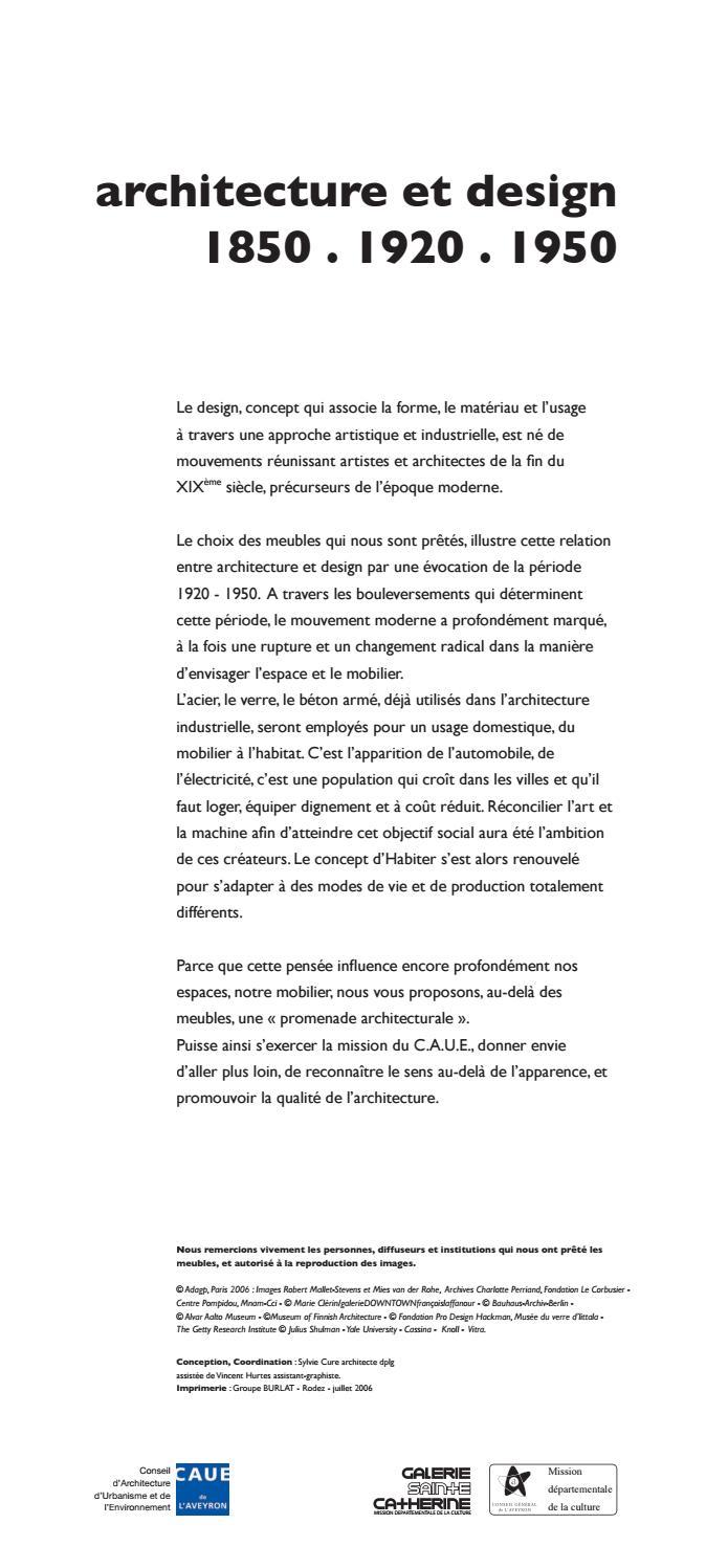 Reconnaitre Le Style D Un Meuble exposition architecture et designcaue de l'aveyron - issuu