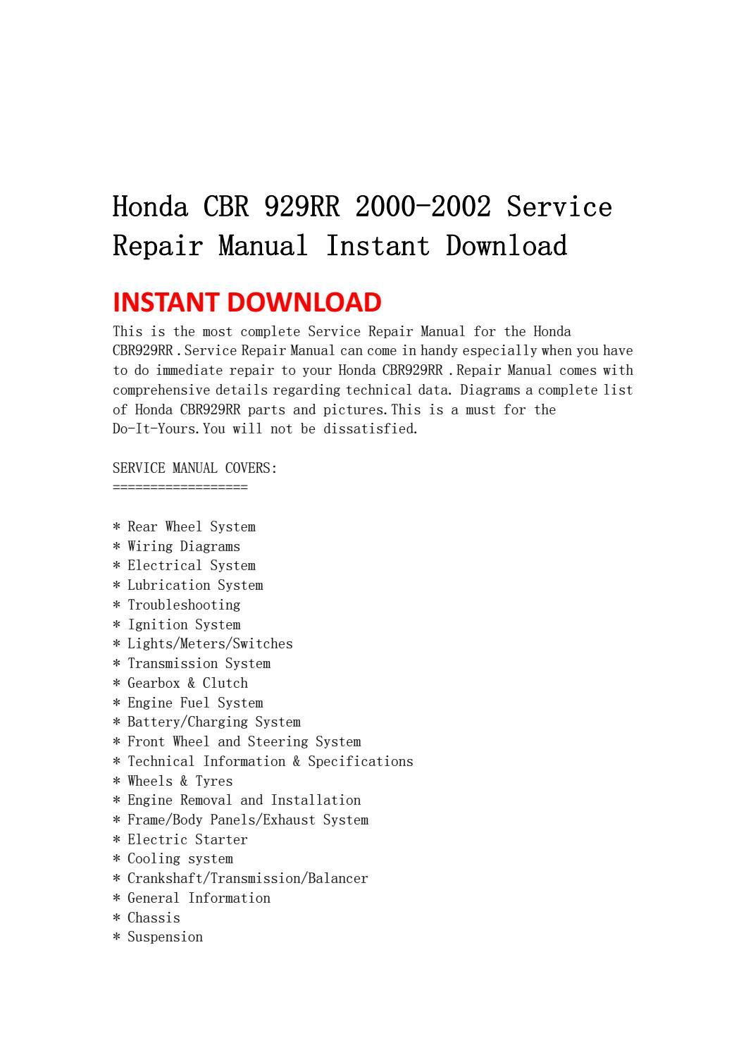 Honda cbr 929rr 2000 2002 service repair manual instant download by  jhsenfuh - issuuIssuu