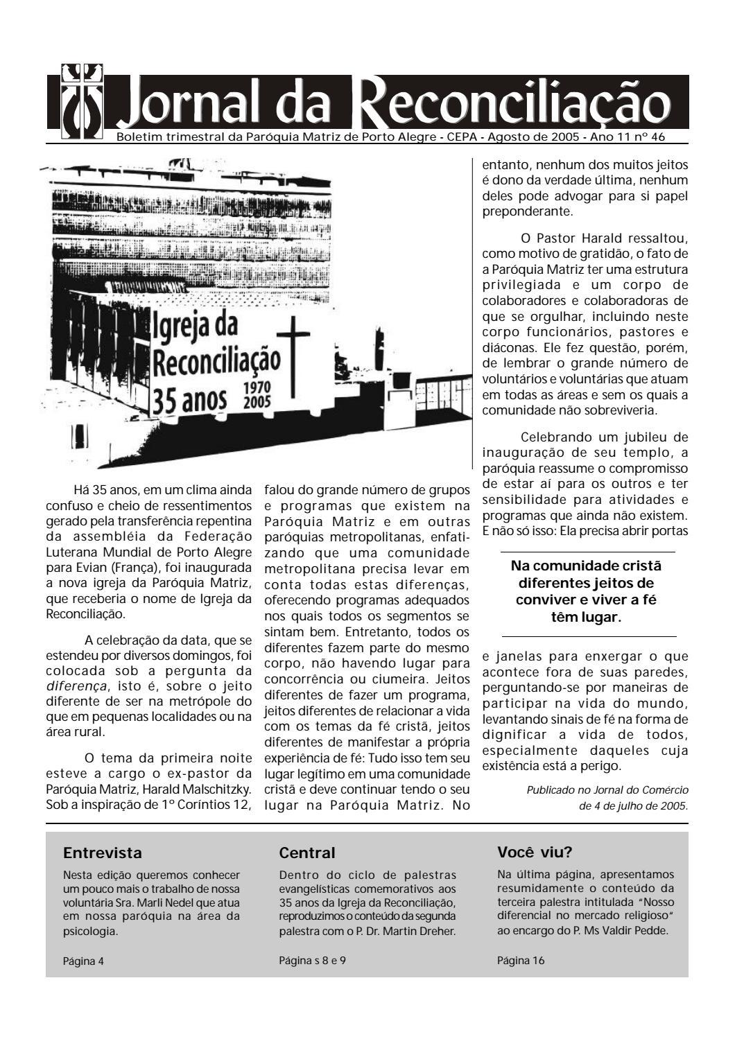 b3c9c49ad Jornal da Reconciliação. Ano 11, Nº 46, Agosto de 2005 by Portal Luteranos  - IECLB - issuu