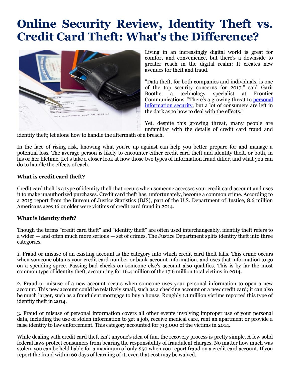 Online Security Review Identity Theft Vs Credit Card Theft What S The Difference By Mond Carlo Issuu