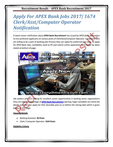 Apply For APEX Bank Jobs 2017