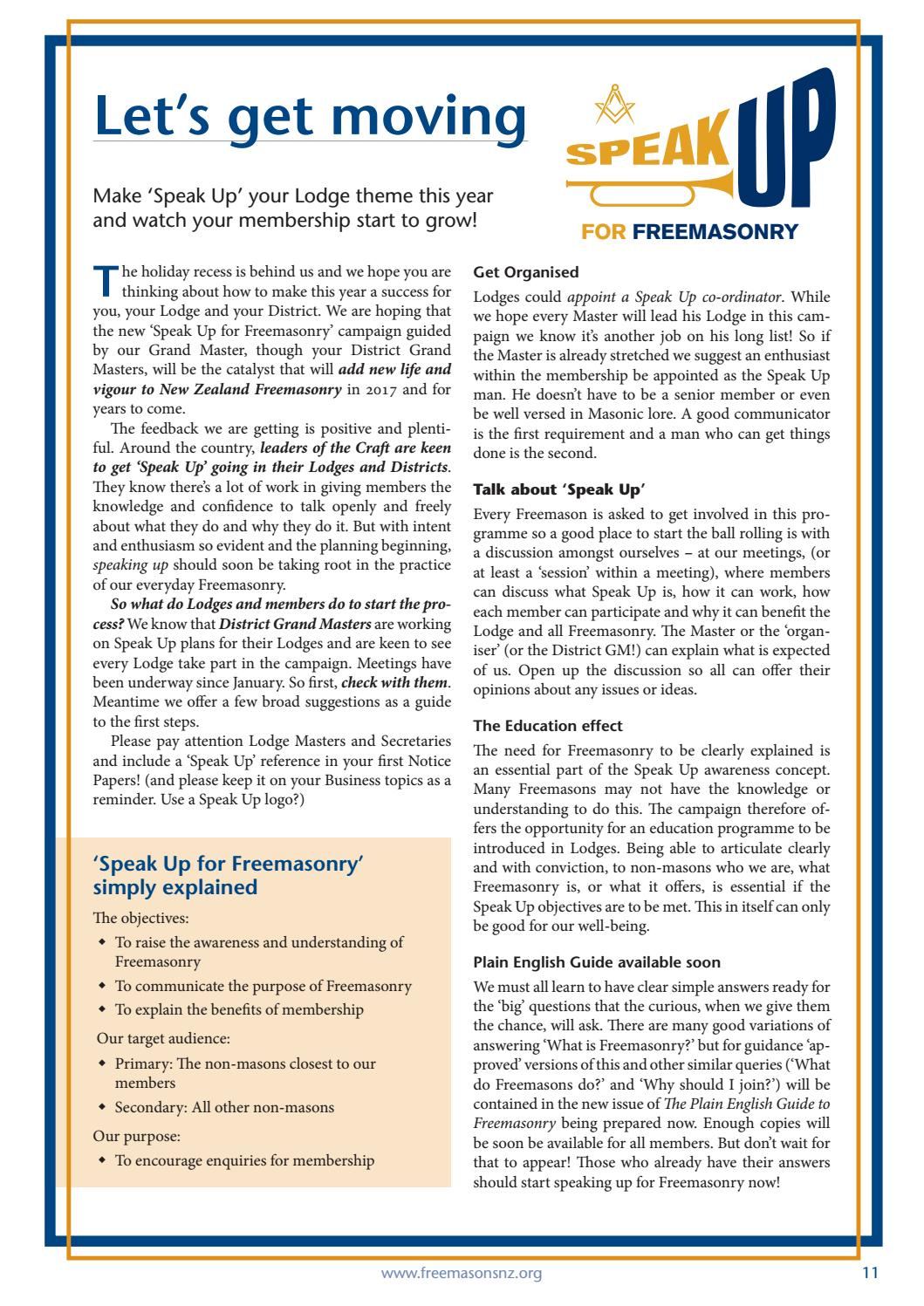 NZ Freemason magazine Issue 1 March 2017 by Freemasons New Zealand