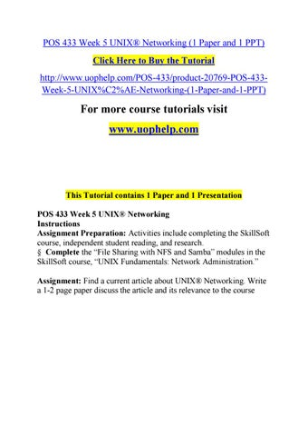 Pos 433 week 5 unix® networking (1 paper and 1 ppt) by