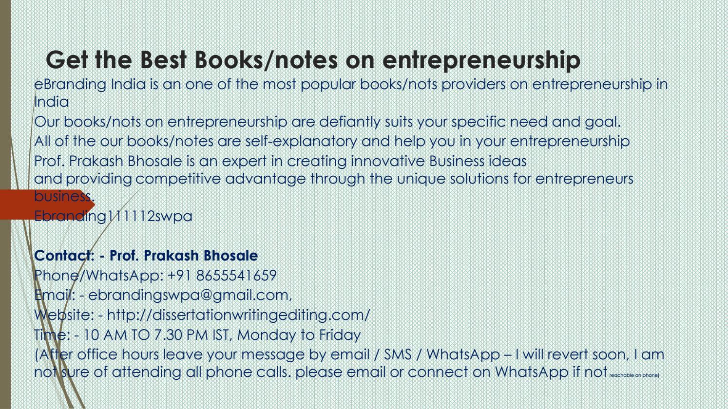 Books Notes On Entrepreneurship Ads 7 3 17 By Prakash Bhosale Issuu