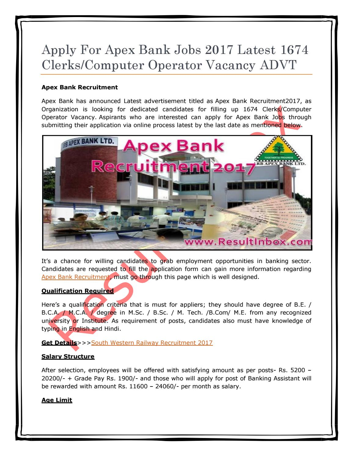 Apply for apex bank jobs 2017 latest 1674 clerks computer operator
