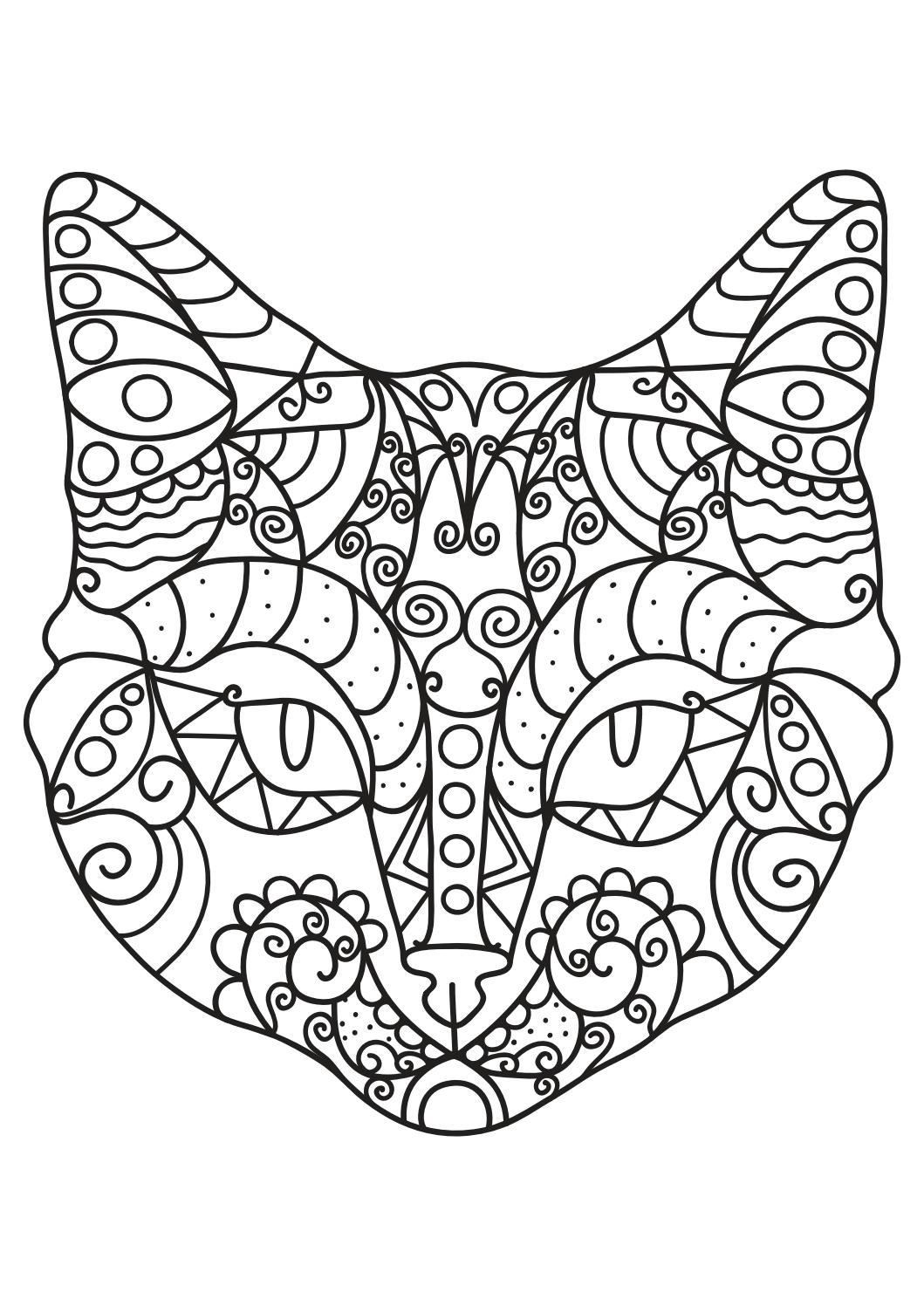 cat coloring pages for adults  printable coloring book