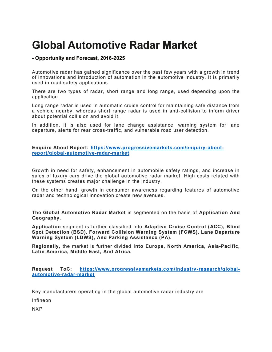 Automotive Radar Market - Research Study, Analysis