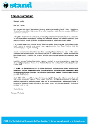 Yemen mp letter template by stand uk issuu yemen campaign sample letter dear mps name i am writing to express my deep concern about the growing humanitarian crisis in yemen spiritdancerdesigns Images