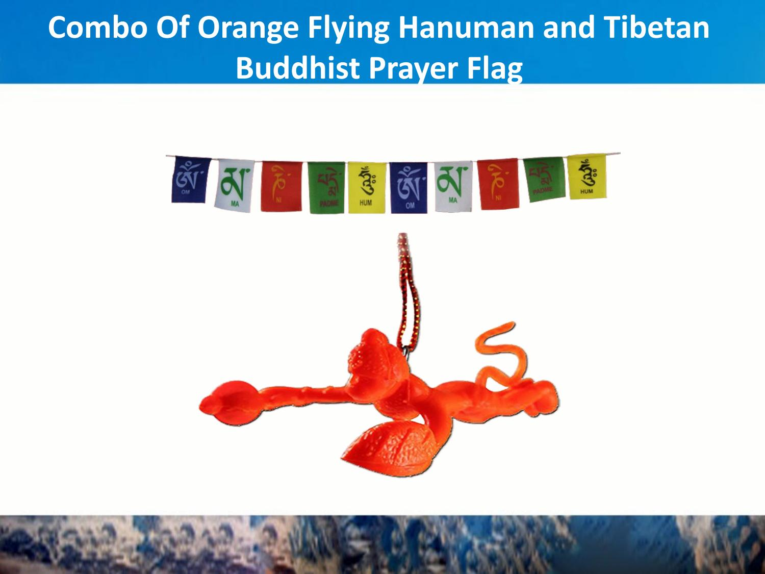 Combo of orange flying hanuman car mirror hanging and tibetan