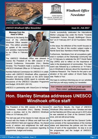 UNESCO Windhoek Newsletter (Issue 21) by Joseph Clymax Illonga - issuu