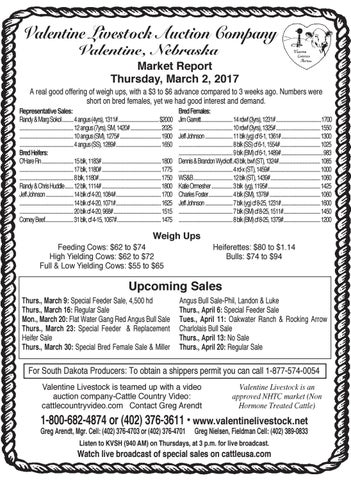Elegant Valentine Livestock Auction Co. Market Report   3.6.17