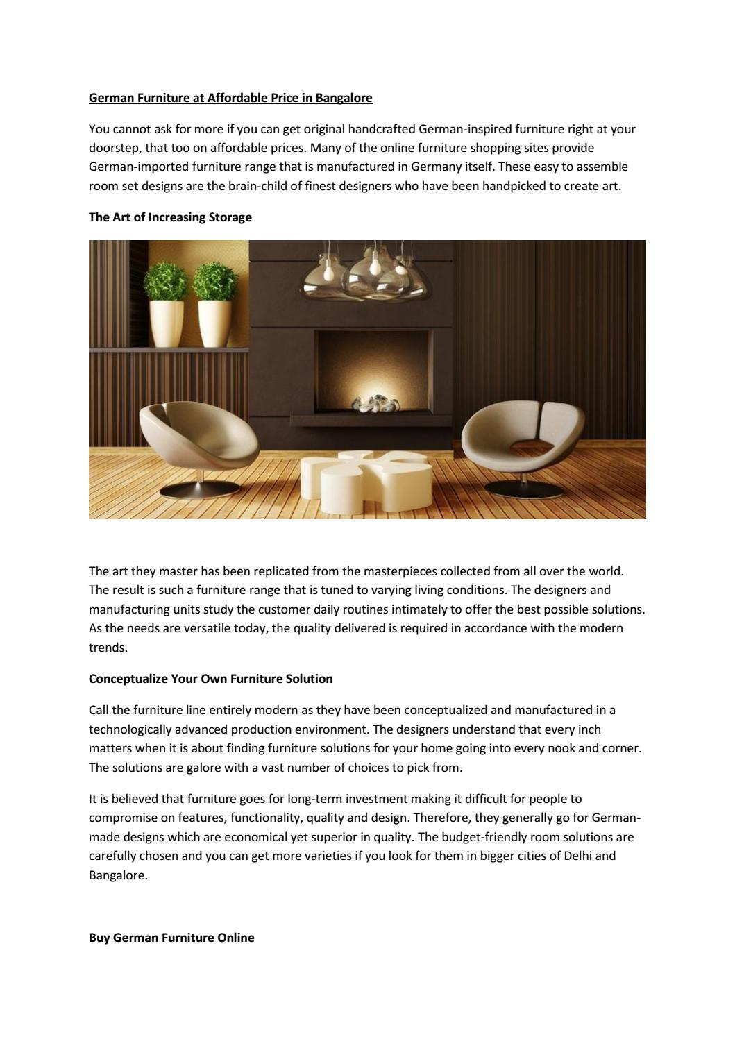 German Furniture At Affordable Price In Bangalore By Kumar Vashudev