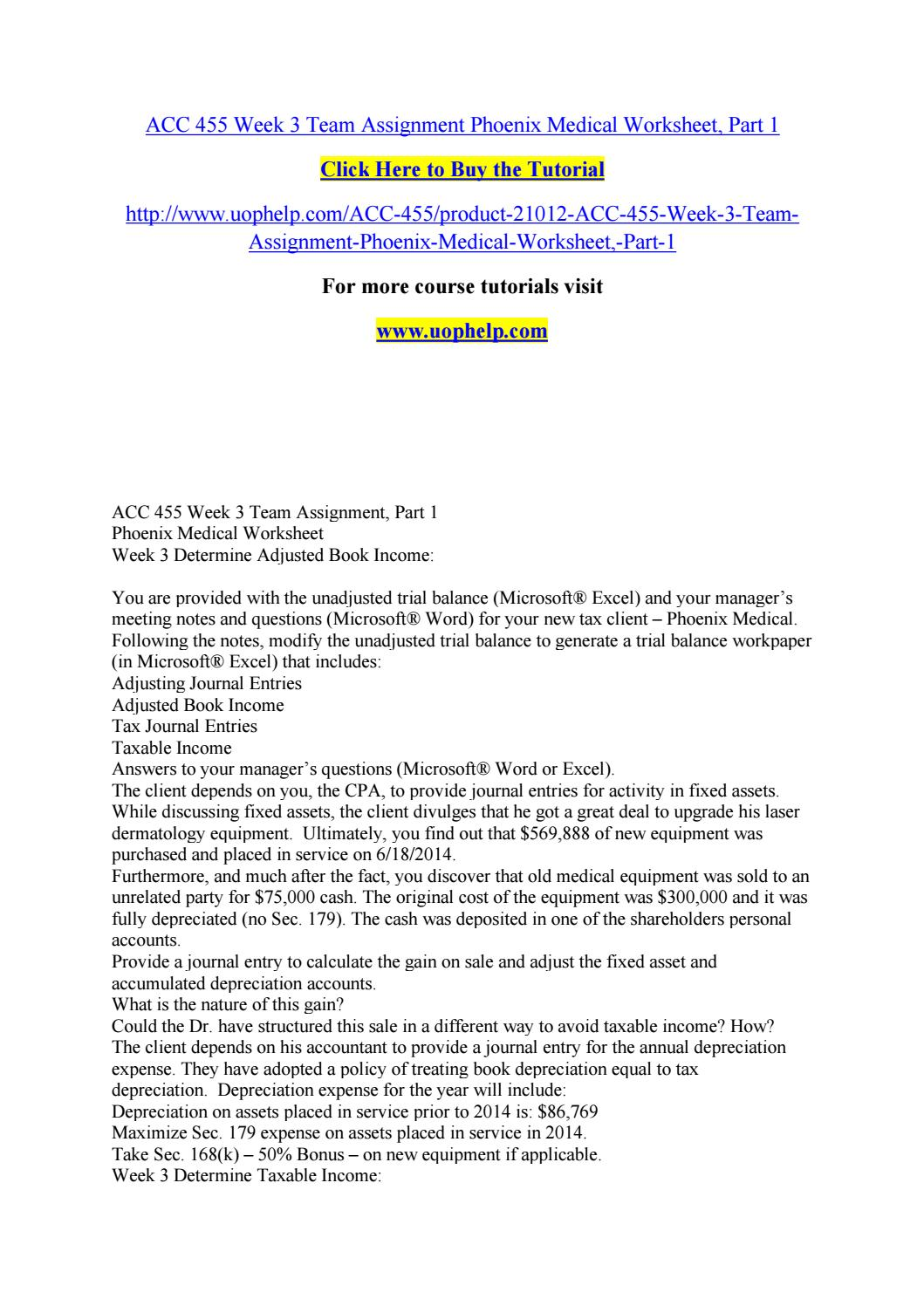 Acc 455 week 3 team assignment phoenix medical worksheet