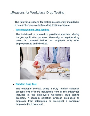 Reasons for workplace drug testing by MarryJohnsons - issuu