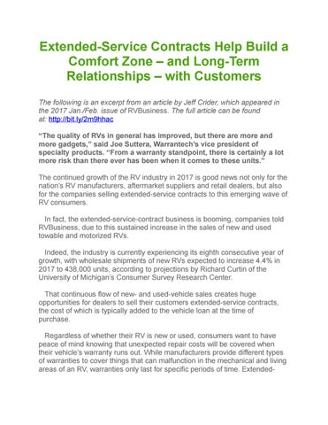Extended Service Contracts Help Build A Comfort Zone – And Long