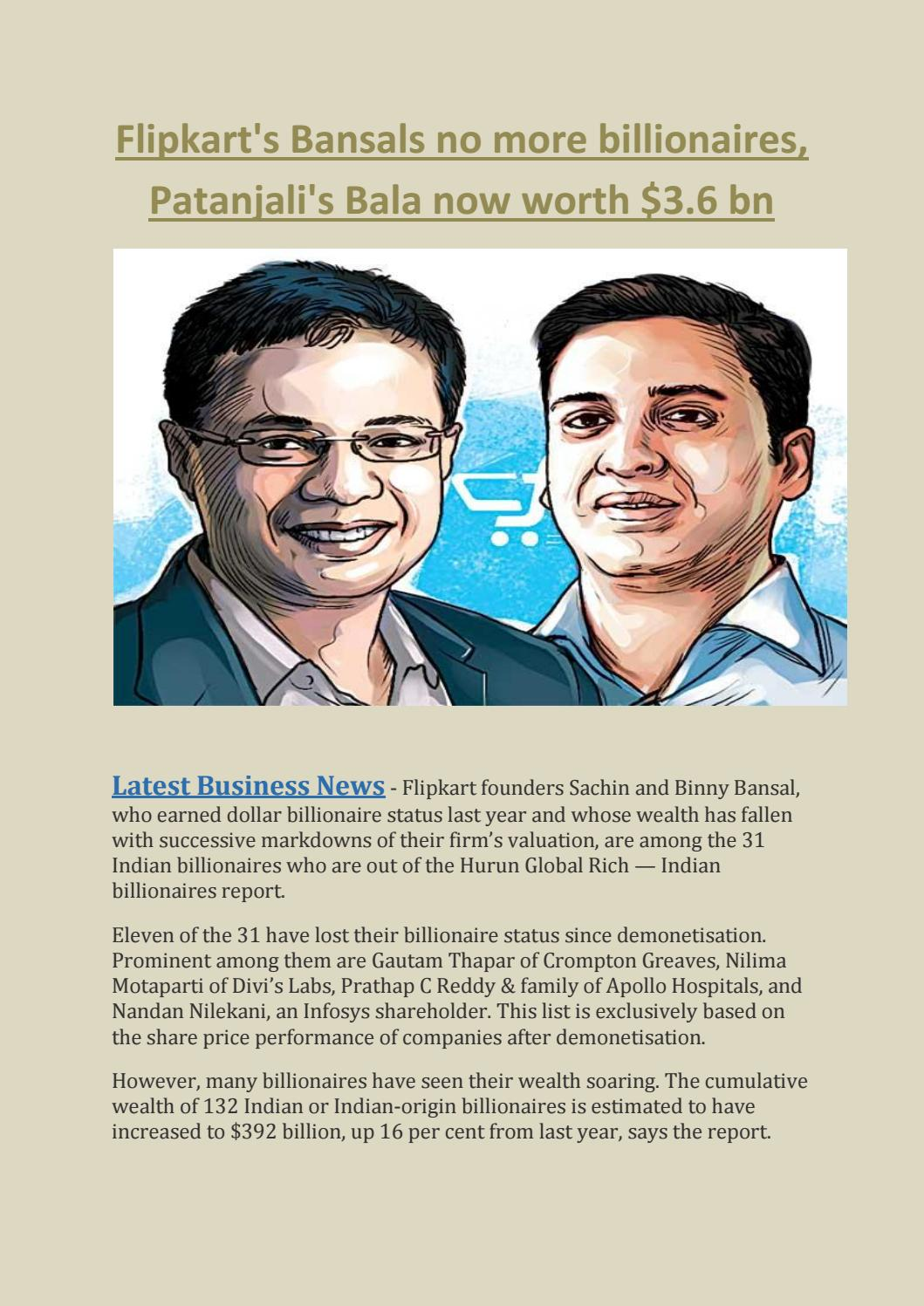 Flipkart's bansals no more billionaires, patanjali's bala