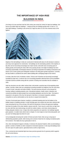 The importance of high rise buildings in India by Artech Realtors