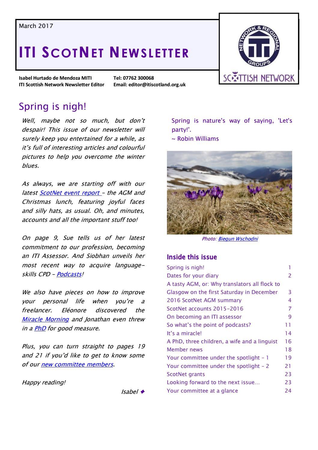 Iti scottish network newsletter march 2017 by iwan davies issuu kristyandbryce Choice Image