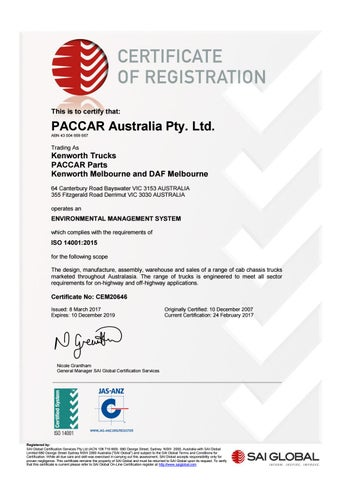 Iso 14001 certificate 2017 2019 by PACCAR Australia - issuu