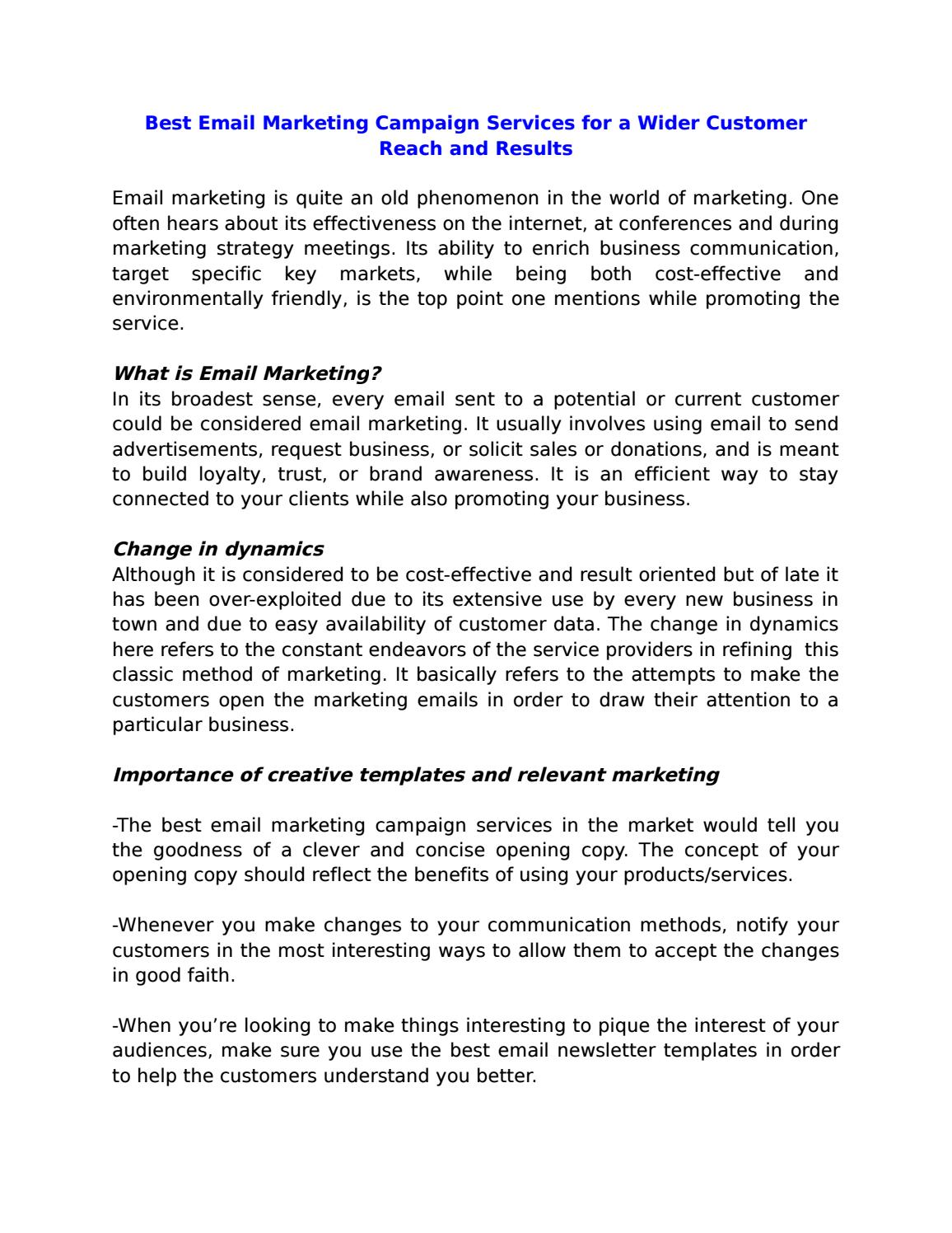 Best email marketing campaign services for a wider customer reach ...