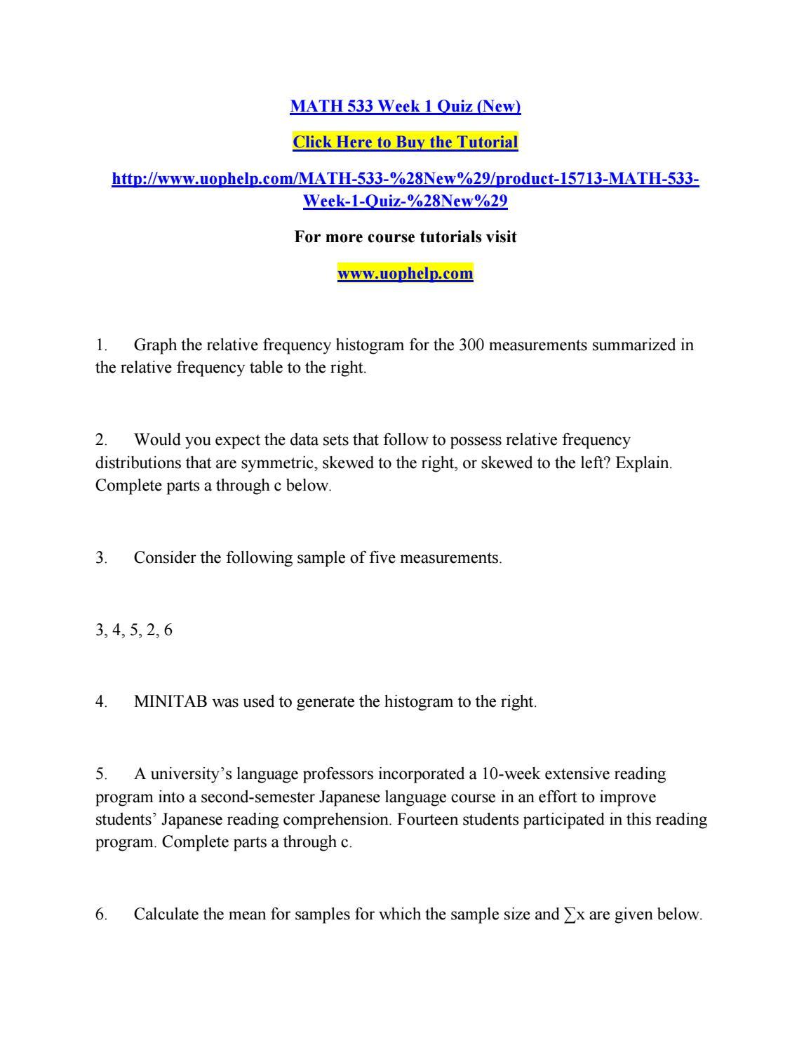 Math 533 week 1 quiz by kjtr - issuu