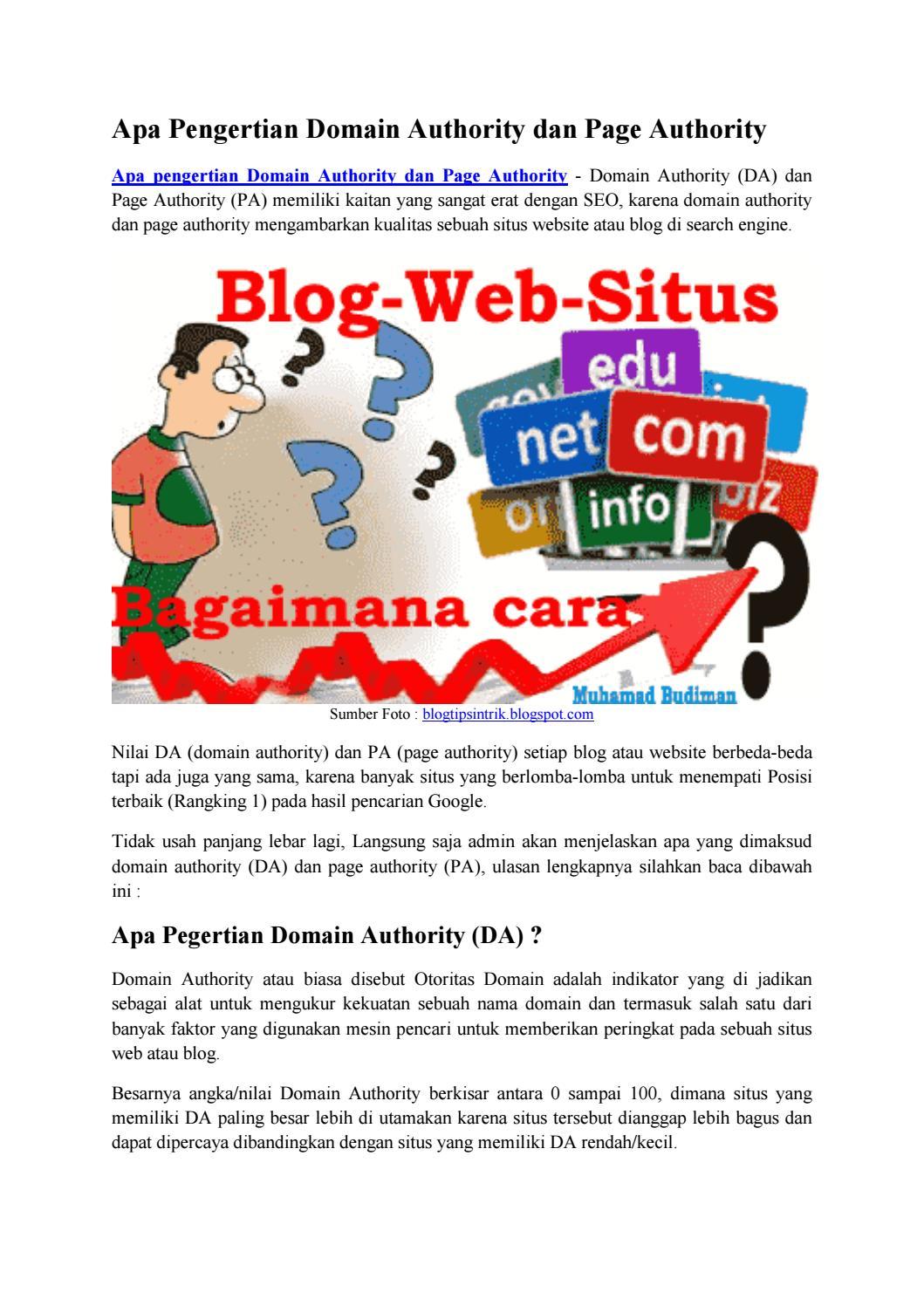 Apa pengertian domain authority dan page authority blog by ...