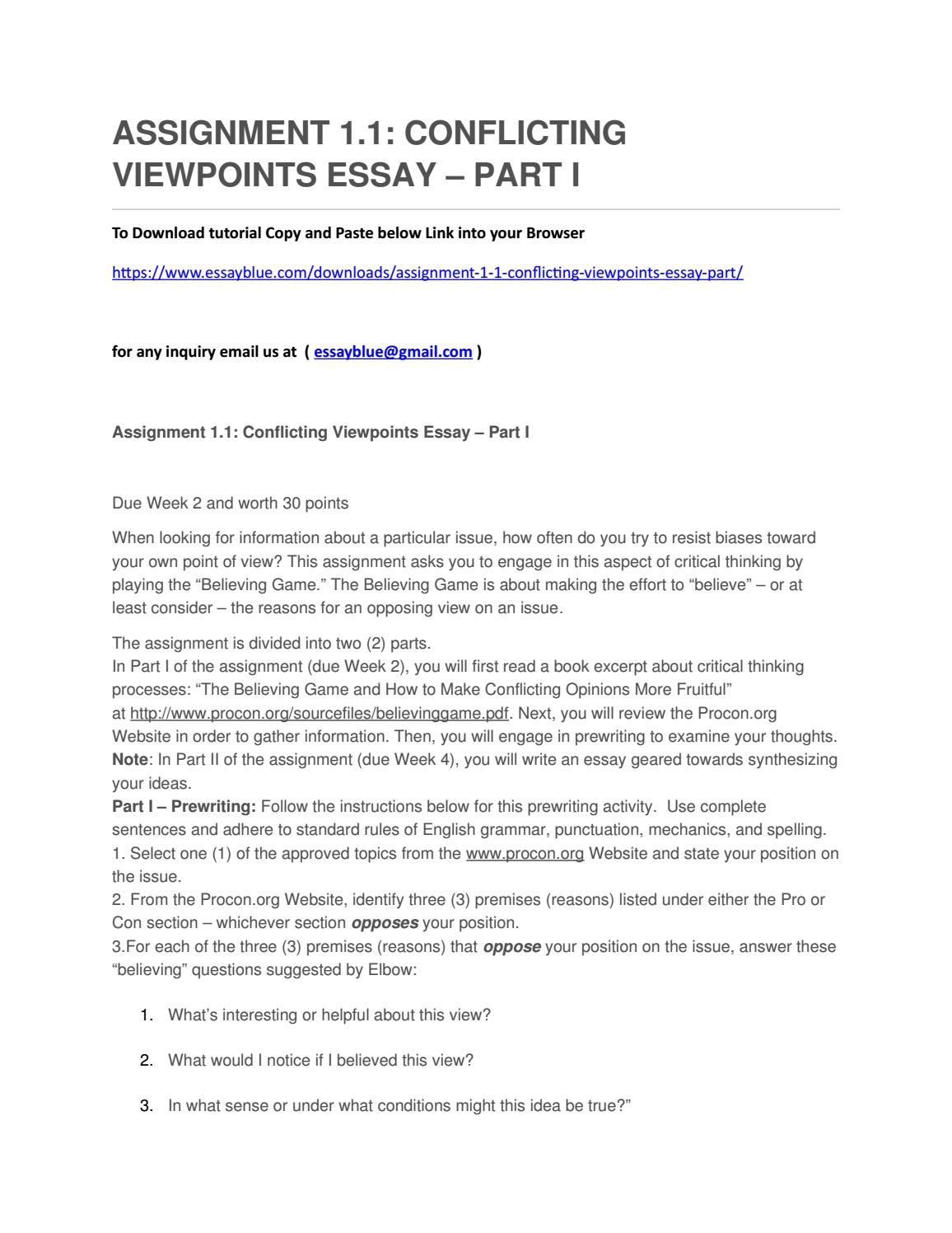 assignment 1.1 conflicting viewpoints essay - part i prewriting due week 2 and worth 30 points