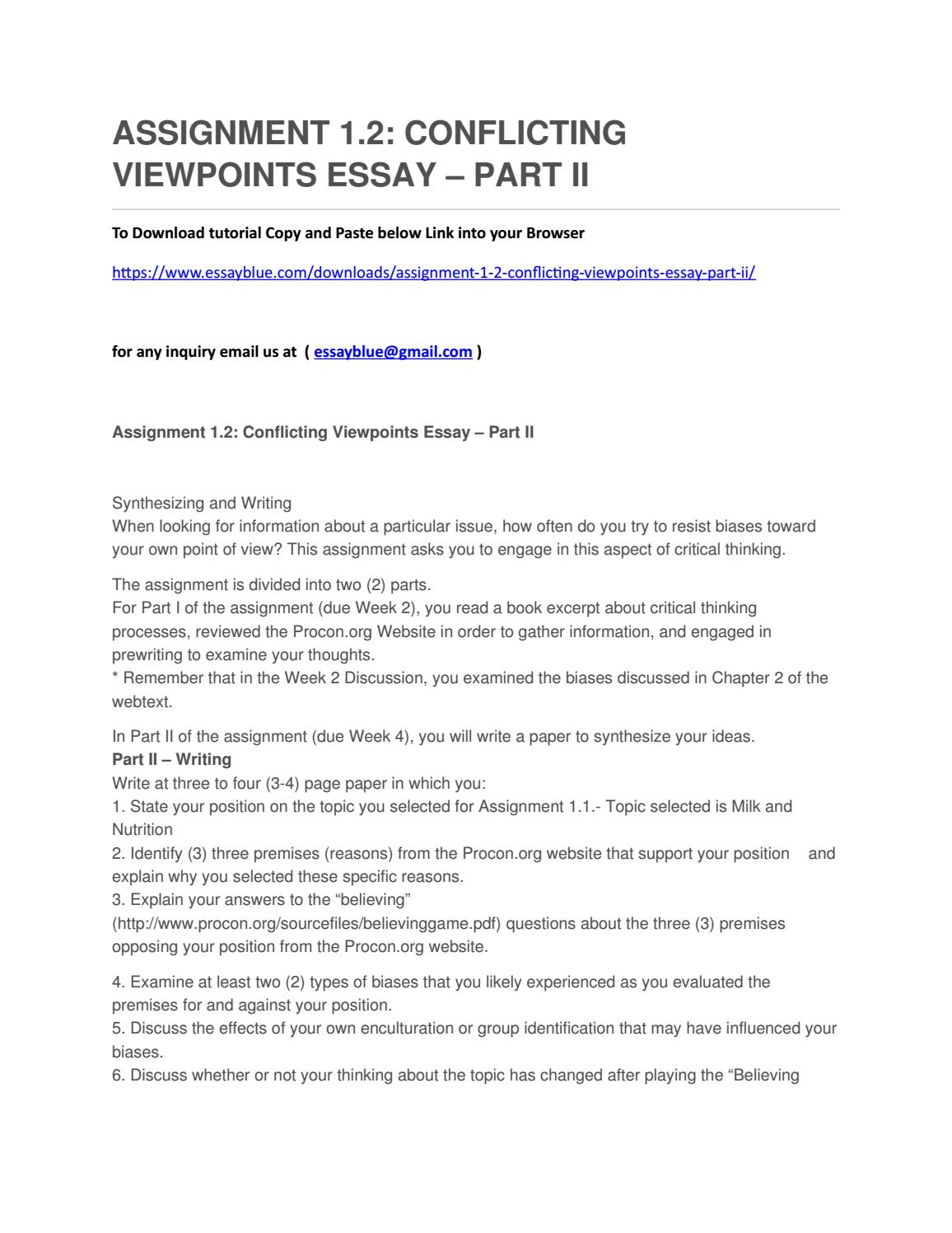 manigault conflicting viewpoints essay essay Read this essay on conflicking viewpoints  conflicting viewpoints essay assignment 2 m lakeisha manigault professor sharon thomas strayer .