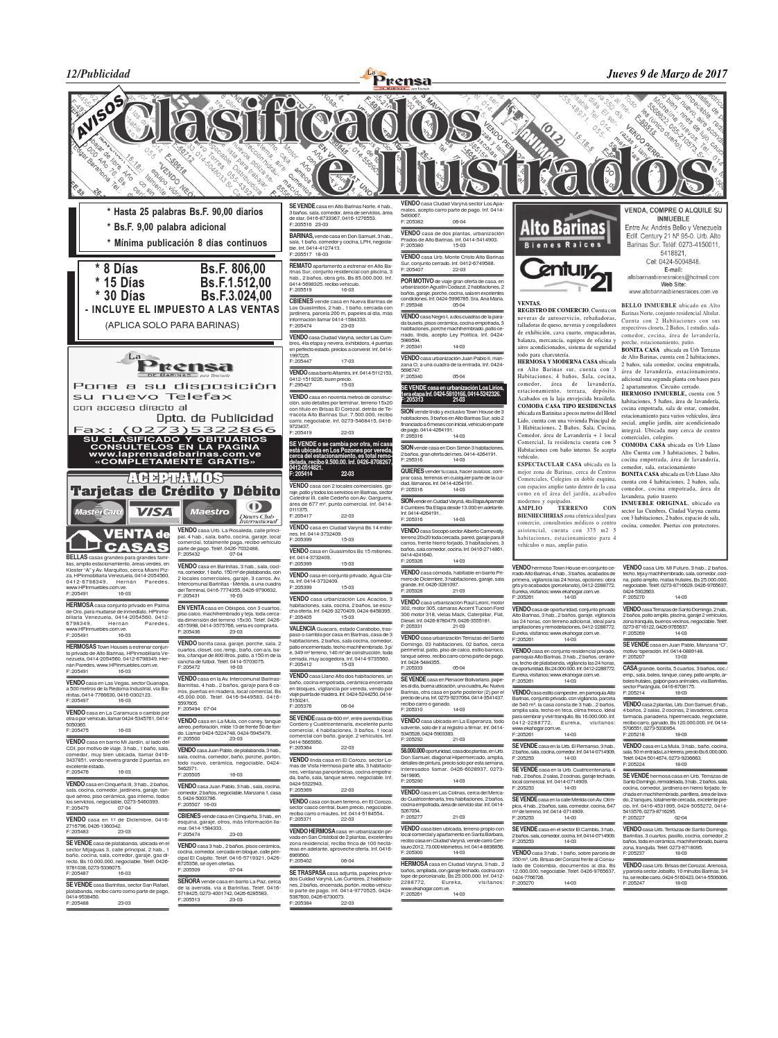 Clasificados De 09 03 2017 By La Prensa De Barinas Issuu
