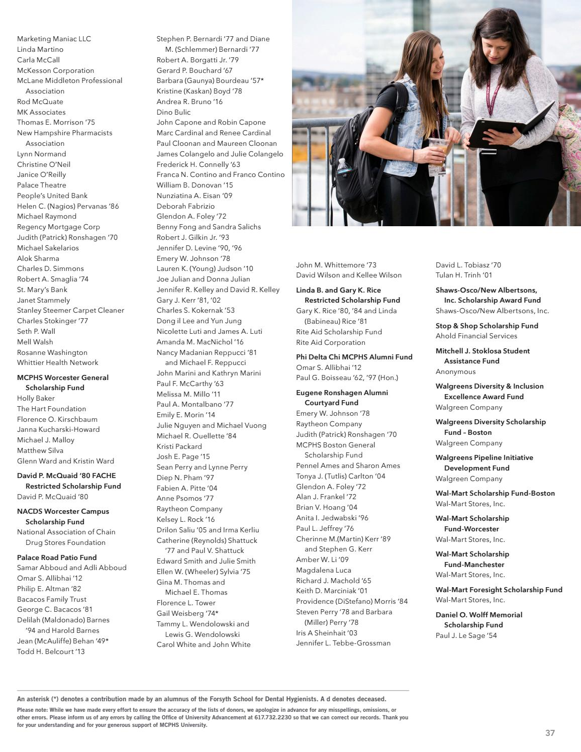 MCPHS University 2016 Report on Giving by Massachusetts College of